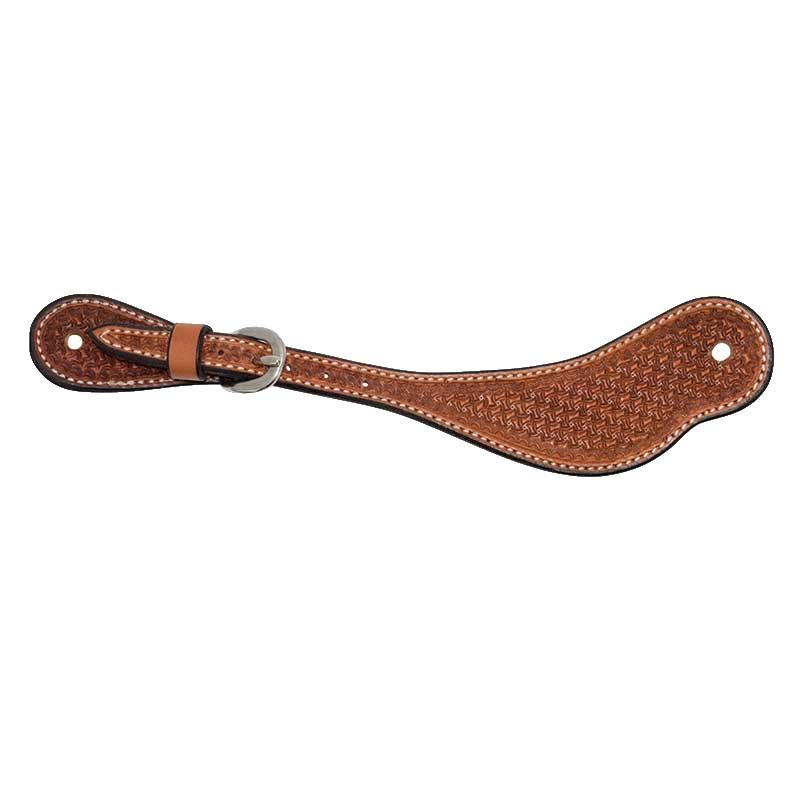 Wildfire Saddlery Men's Golden Leather Spider Stamp Spur Straps