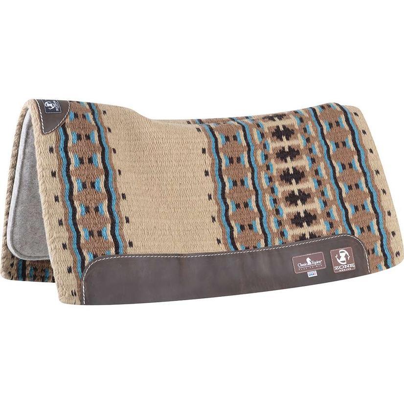 Zone Wool Top Pad 32`X34`X3/4` SHEEPSKIN/TURQ