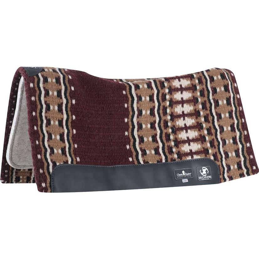Zone Wool Top Pad 34`x38`x3/4` BURGUNDY/BRWN