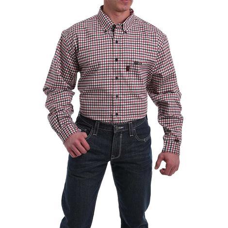 Cinch Fire Retardant Red White Checkered Print Long Sleeve Men's Shirt