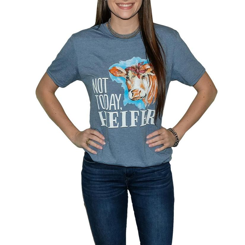 Southern Couture Heather Indigo Not Today Heifer Tee