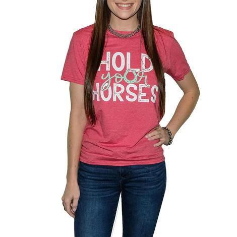 Southern Couture Heather Red Hold Your Horses Tee