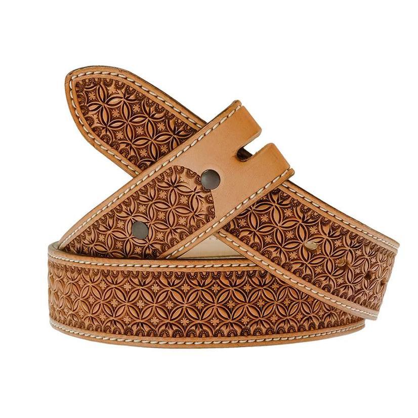 South Texas Tack Custom Tan Stamped Belt - Floral Pattern