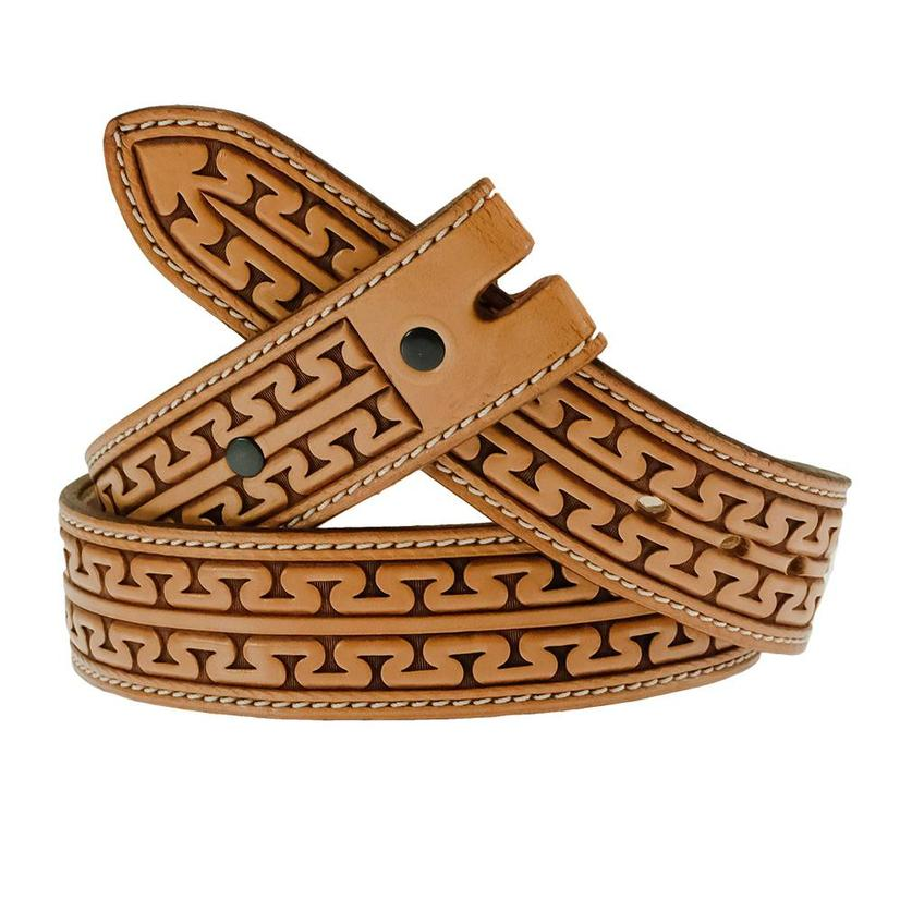 South Texas Tack Custom Tan Stamped Belt - Unique Stamped