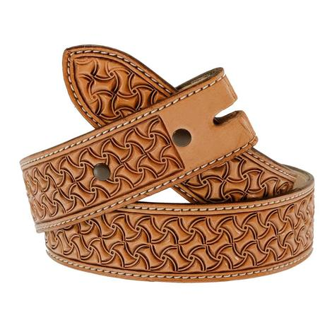 South Texas Tack Custom Tan Stamped Belt - Decorative Stamped