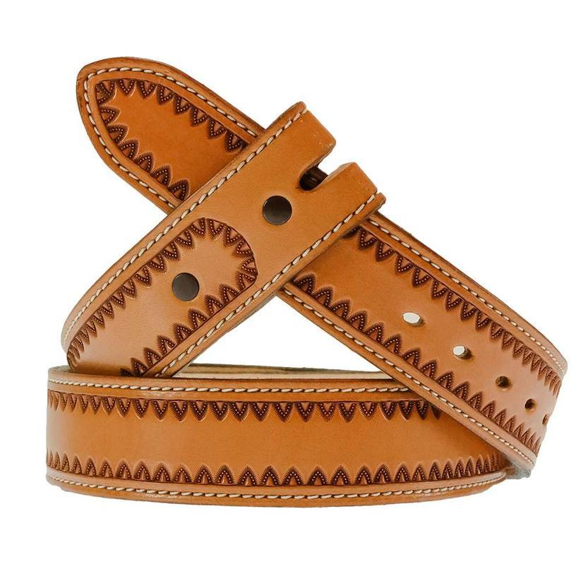 South Texas Tack Custom Border Stamped Leather Belt - Tan/Longhorn Brown