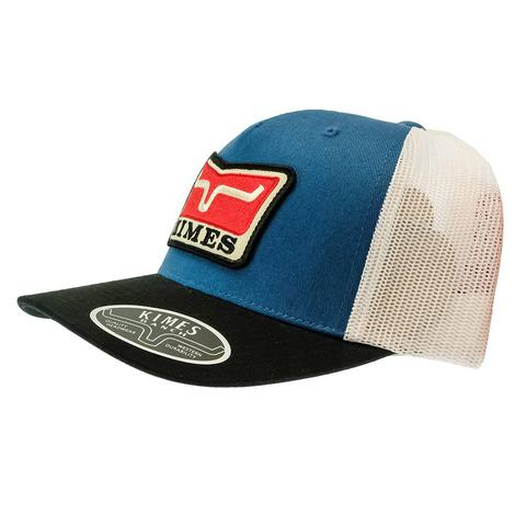 Kimes Ranch Blue White Service First Meshback Trucker Cap