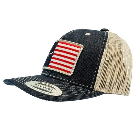 Kimes Ranch Navy American Flag Trucker Meshback Cap