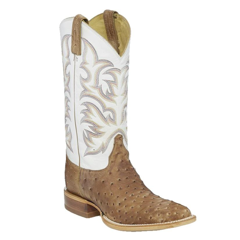 Justin Pascoe Antique Tan Full Quill Ostrich White Top Square Toe Men's Boots
