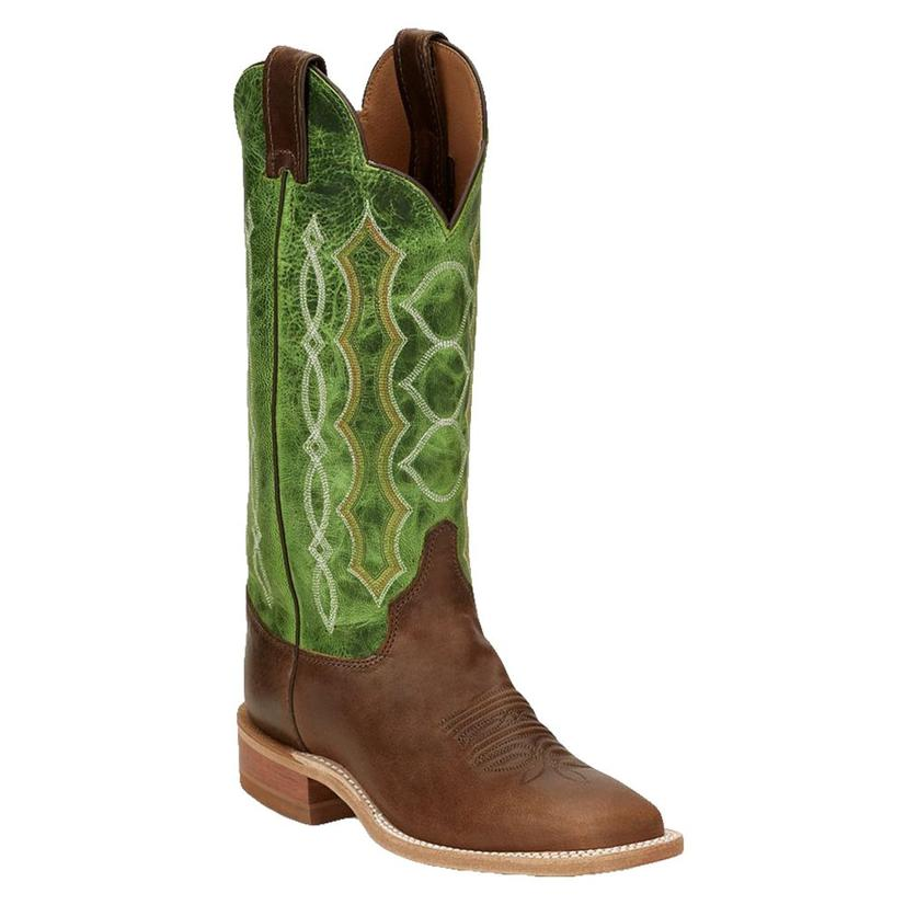 Justin Bent Rail Lawton Taupe Green Top Women's Boots
