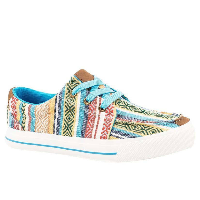 Roper Blue Aztec Stripe Lace Up Women's Shoes