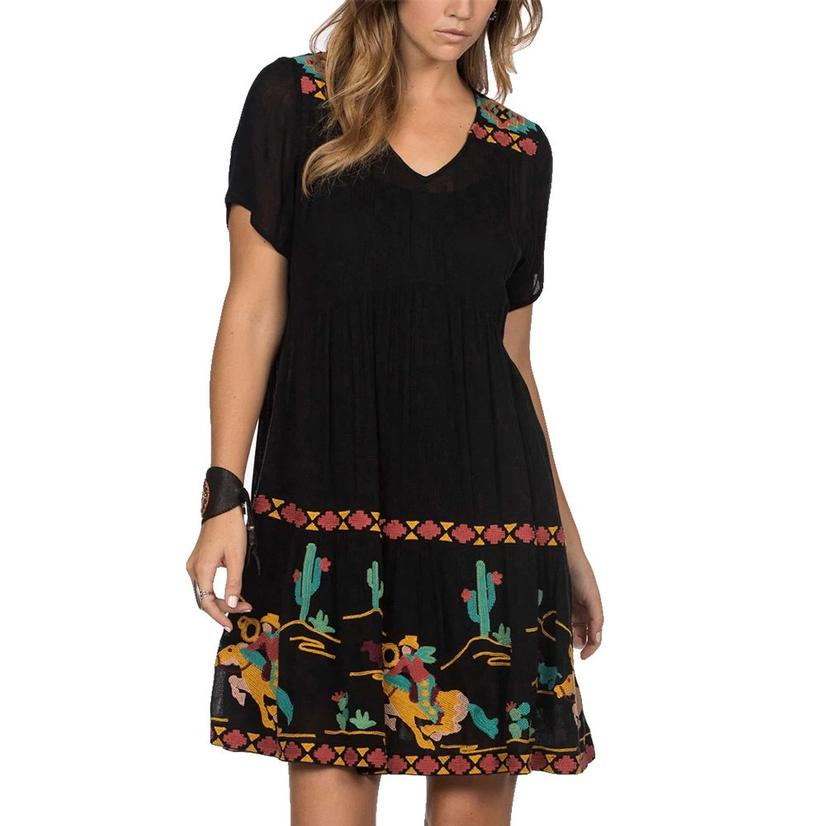Double D Ranch Black Multicolor Embroidered Cowboy Dress
