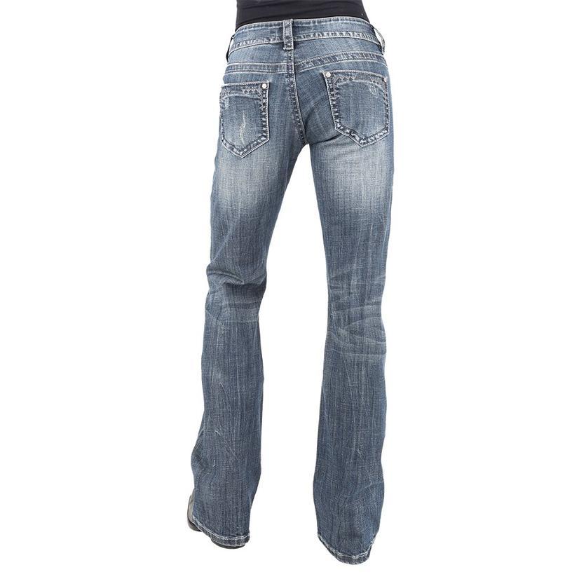 Stetson Medium Wash Trouser With Zig Zag Pockets Women's Jeans