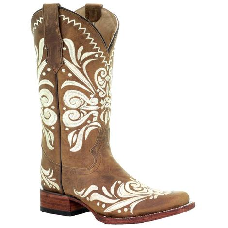 Circle G Brown and White Embroidered Ladies' Boots