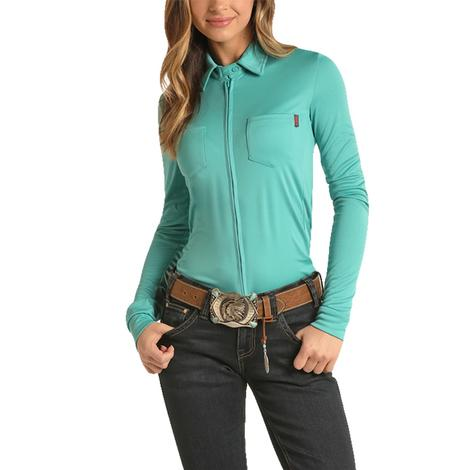 Rock and Roll Cowgirl Turquoise Long Sleeve Zip Up Knit Top