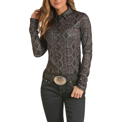 Rock and Roll Cowgirl Snake Print Zip up Women's Top