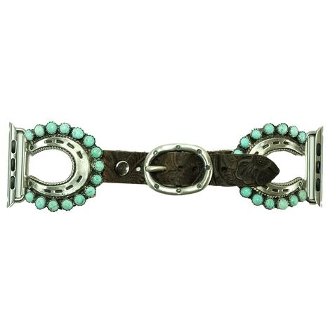 Turquoise Horseshoe Leather Watchband