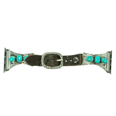 Small Three Stone Turquoise Silver Leather Watchband