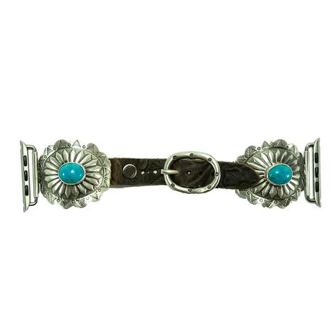Leather and Silver Concho Watchband with Turquoise Stones