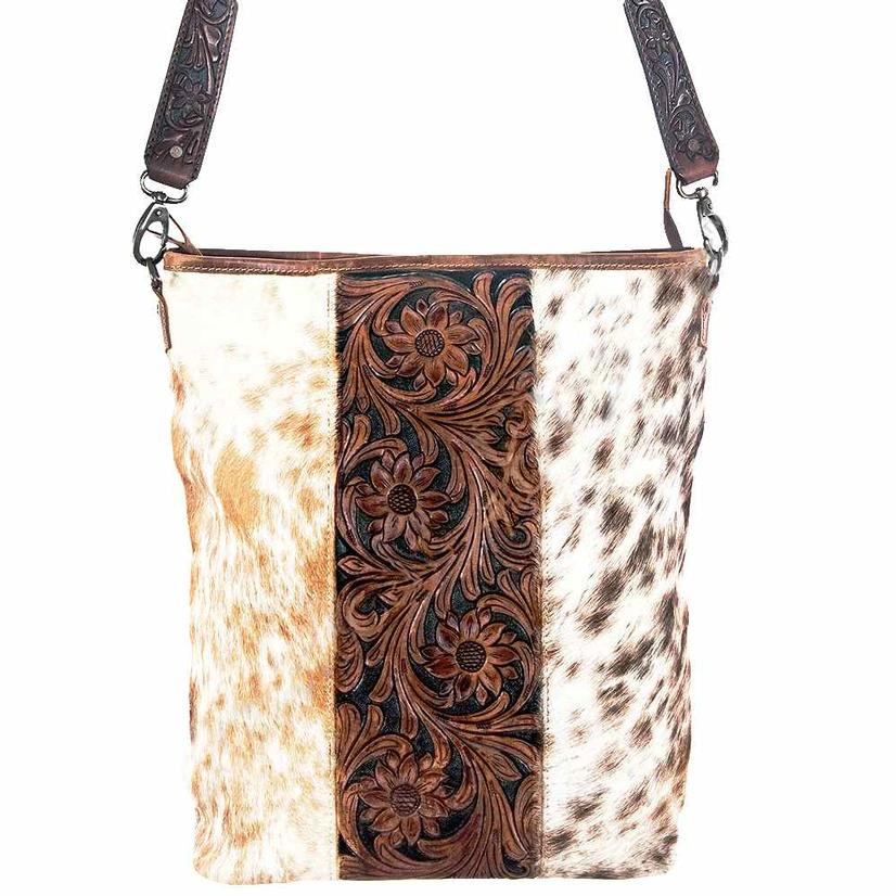 American Darling Bags Brown And White Tooled Leather Bucket Bag
