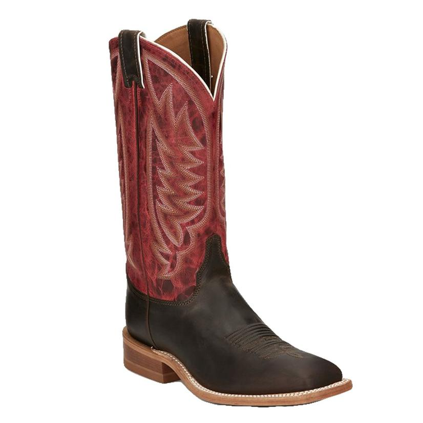 Justin Bent Rail Andrews Chocolate Red Top Men's Boots