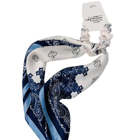 Hotline Hair Ties Ivory And Navy Handkerchief