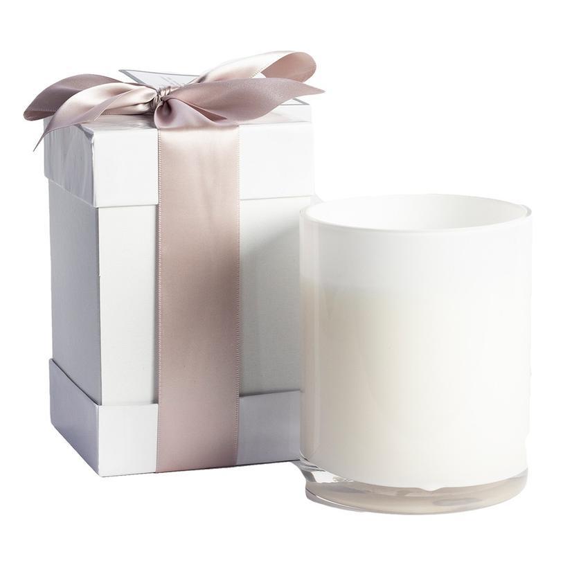 B's Knees 2 Wick Fresh Earth White Glass Candle