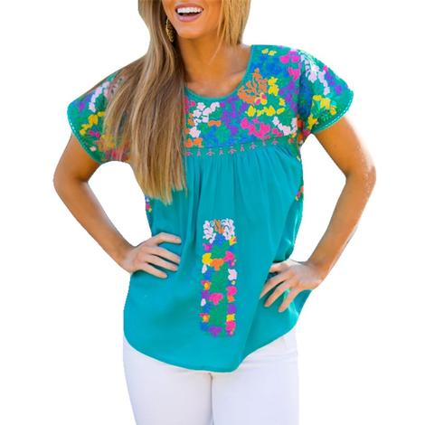 Skylar Turquoise Multi Embroidered Women's Top