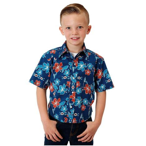 Roper Boy's Hawaiian Print Short Sleeve Shirt