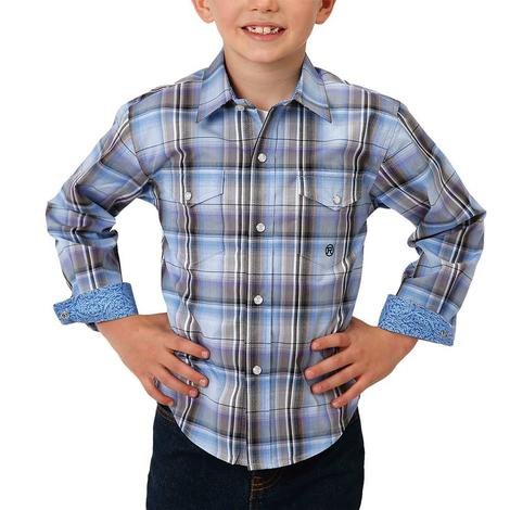 Roper Boy's Black and Blue Plaid Long Sleeve Shirt