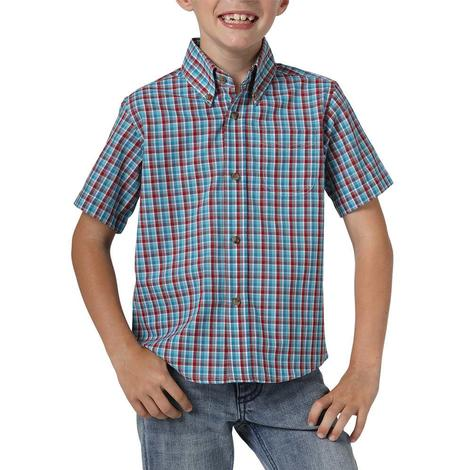 Wrangler Jeans Boy's Riata Plaid Short Sleeve Shirt