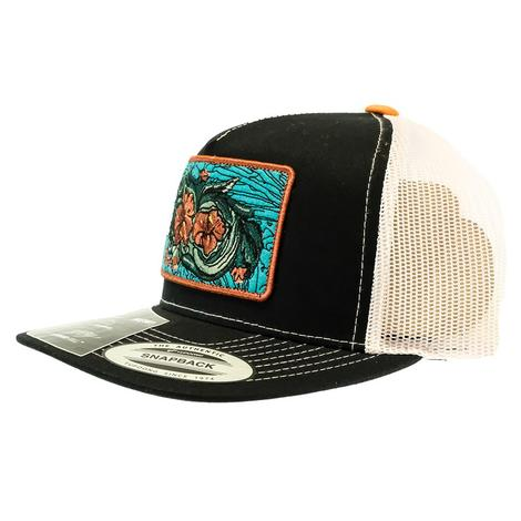 Hooey Black and White Turquoise Floral Patch Meshback Cap