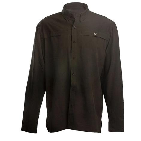 Xotic Black Hybrid Long Sleeve Button Down Men's Fishing Shirt