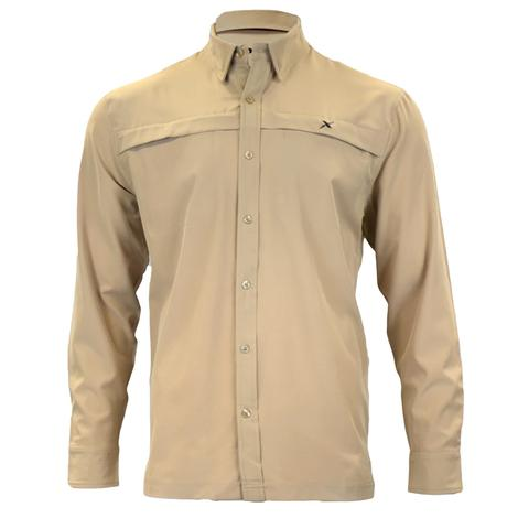 Xotic Khaki Hybrid Long Sleeve Button Down Men's Fishing Shirt
