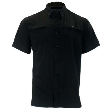 Xotic Black Hybrid Short Sleeve Button Down Men's Fishing Shirt