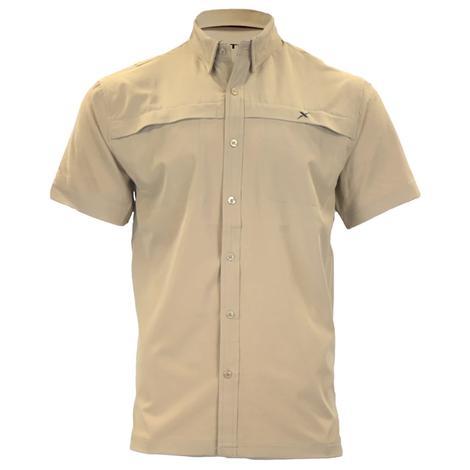 Xotic Khaki Hybrid Short Sleeve Button Down Men's Fishing Shirt