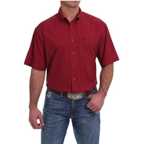 Cinch Red Print Short Sleeve Buttondown Men's Shirt