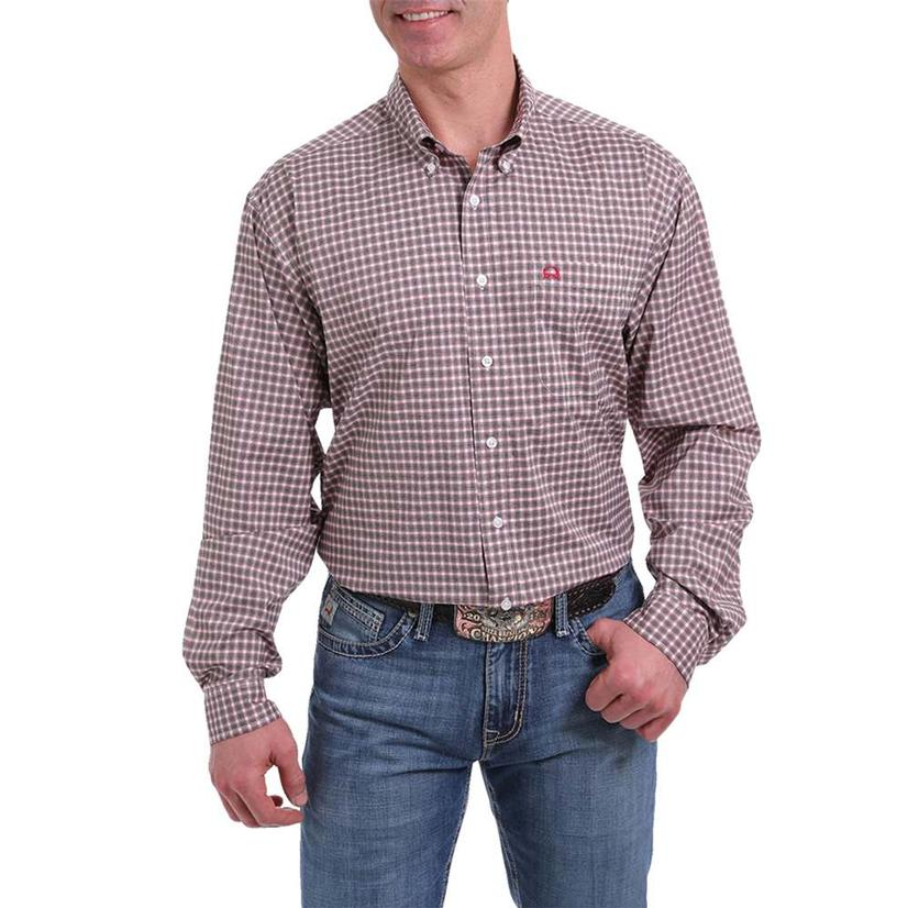 Cinch White Red Plaid Arenaflex Long Sleeve Buttondown Men's Shirt