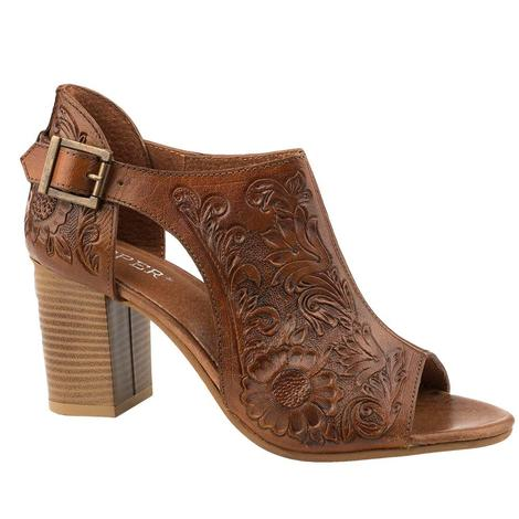 Roper Mika Tan Hand Tooled Leather Women's Wedge