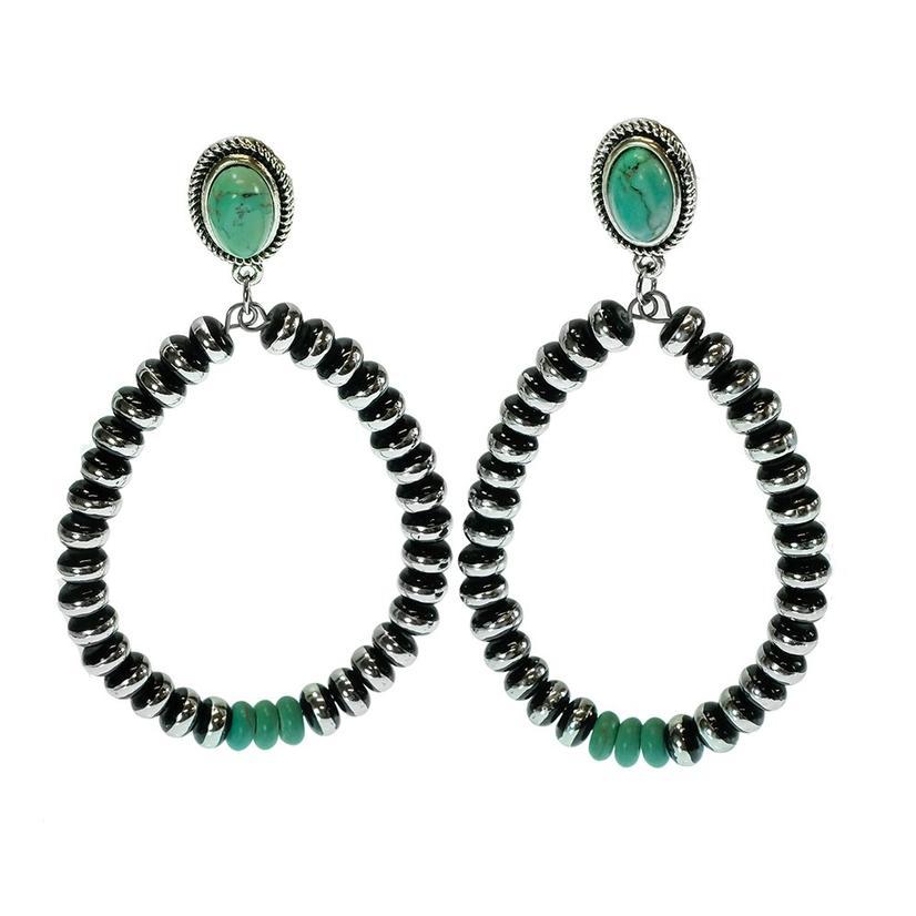Silver Pearl And Turquoise Loop Earrings