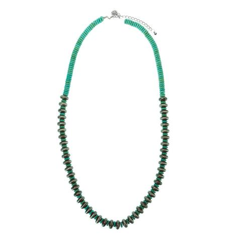 Turquoise and Silver Pearl Necklace