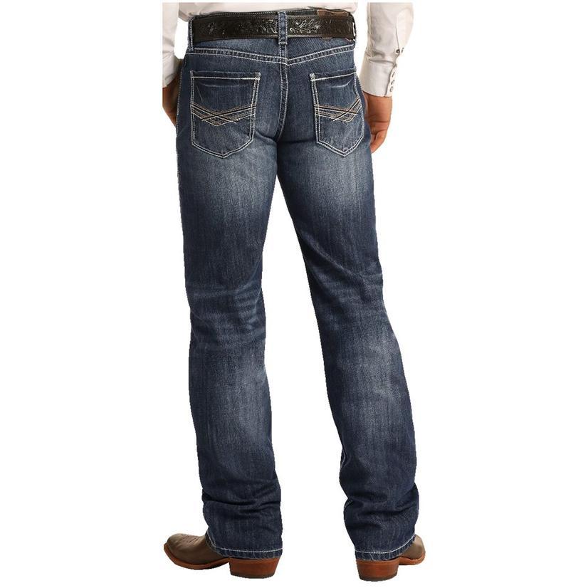Rock And Roll Cowboy Double Barrel Straight Dark Vintage Wash Men's Jeans