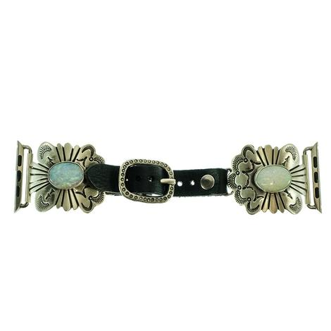Silver Scallop Concho with Opal Stones Leather Watchband