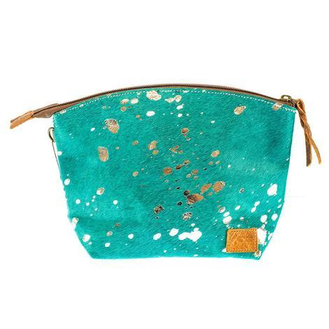 American Darling Bags Turquoise Acid Wash Makeup Bag