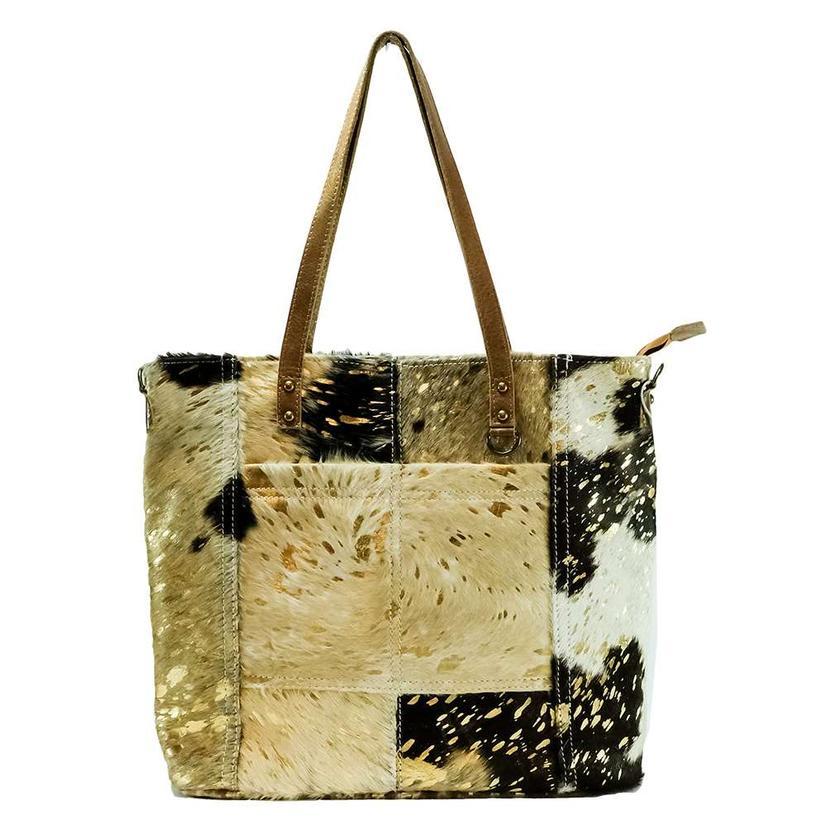 Amerian Darling Bags Tan White Gold Splash Hide Tote