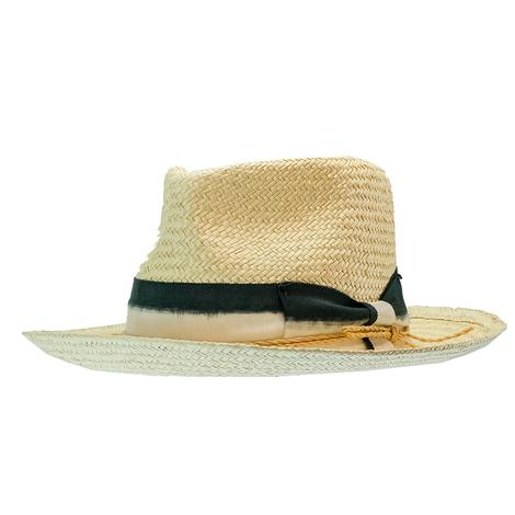 Wyeth Andy Panama Straw Hat with Mid Brim Grosgrain Ribbon