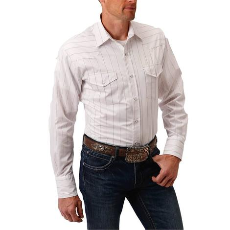 Roper White Pinstripe Long Sleeve Buttondown Men's Shirt