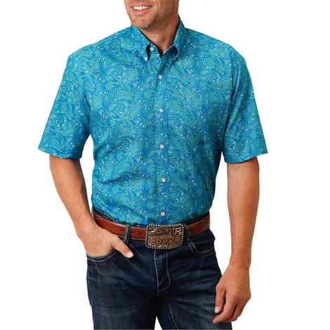 Roper Blue Paisley Print Short Sleeve Buttondown Men's Shirt