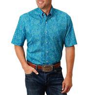 Roper Blue Paisley Print Short Sleeve Buttondown Men's Shirt