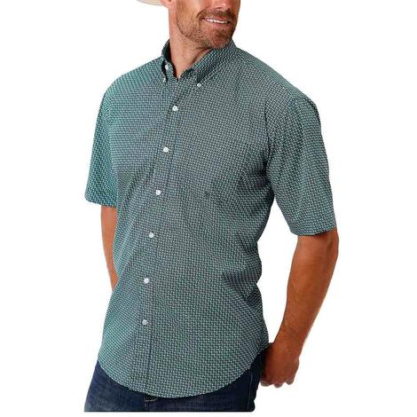 Roper Navy Green Print Short Sleeve Buttondown Men's Shirt